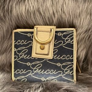 Blue and White rope script Bifold wallet w/Zipper!